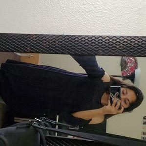 Navy blue, no shoulder dress